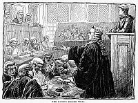 0086737 © Granger - Historical Picture ArchiveJOHN PETER ZENGER   (1697-1746). American printer and journalist. Zenger in the dock defended by Andrew Hamilton at his trial for seditious libel in New York City, 1735. Drawing, late 19th century.