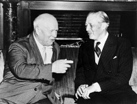 0621700 © Granger - Historical Picture ArchiveKHRUSHCHEV & MACMILLAN.   Soviet Premier Nikita Khrushchev and British Prime Minister Harold Macmillan at the Soviet New York headquarters, following Macmillan's disarmament address to the United Nations. Photograph, 1960.