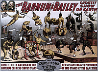 0020307 © Granger - Historical Picture ArchiveCIRCUS POSTER, 1914.   American lithograph circus poster poster for Barnum & Bailey's Greatest Show on Earth, featuring the Ching-Ling-He and Tia Pen acrobat troupes.