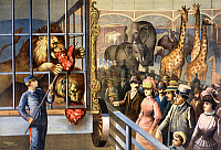0184817 © Granger - Historical Picture ArchiveCIRCUS POSTER, c1891.   An animal keeper feeding raw meat to lions at a circus. Chromolithograph, c1891.