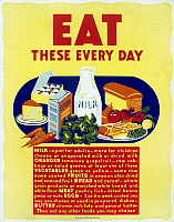 0266759 © Granger - Historical Picture ArchivePOSTER: NUTRITION, c1942.   'Eat These Every Day.' Silkscreen poster, c1942.