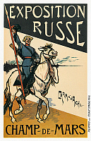 0268623 © Granger - Historical Picture ArchiveEXPOSITION RUSSE, 1895.   Poster for the Exposition Russe in the Champ de Mars in Paris, France. Lithograph by Caran d'Ache (Emmanuel Poiré), 1895.