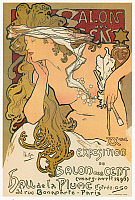 0268717 © Granger - Historical Picture ArchiveEXHIBITION POSTER, 1896.   Poster for the 20th exhibition at the Salon des Cent in Paris, France. Lithograph by Alfons Maria Mucha, 1896.