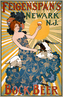 0527860 © Granger - Historical Picture ArchivePOSTER: BEER, c1890.   Poster advertising Feigenspan's bock beer from Newark, New Jersey. Lithograph by Robert A. Welcke, c1890.