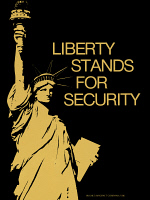 0528081 © Granger - Historical Picture ArchivePOSTER: AIRCRAFT, 1986.   'Liberty stands for security.' Poster promoting the Hughes Aircraft Company, 1986.