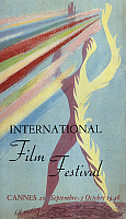 0118147 © Granger - Historical Picture ArchiveCANNES FILM FESTIVAL, 1946.   Poster for the first international film festival at Cannes, France, 1946, with artwork by A.M. Rodicq. EDITORIAL USE ONLY.