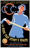 0007221 © Granger - Historical Picture ArchiveNEW DEAL: WPA POSTER.   'A Young Man's Opportunity.' Works Progress Administration poster for the Civilian Conservation Corps, c1935, by Albert M. Bender.