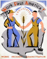 0031916 © Granger - Historical Picture ArchiveNEW DEAL: WPA POSTER.   'Work Pays America!' American poster, c1936-39, by Vera Bock for the Works Progress Administration's Federal Art Project.