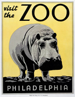 0266202 © Granger - Historical Picture ArchiveZOO POSTER, c1938.   'Visit the Zoo.' Woodcut, c1938.