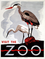 0266203 © Granger - Historical Picture ArchiveZOO POSTER, c1938.   'Visit the Zoo.' Woodcut, c1938.