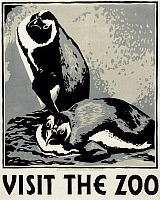0266204 © Granger - Historical Picture ArchiveZOO POSTER, c1936.   'Visit the Zoo.' Woodcut by Louise Welsh, c1936.
