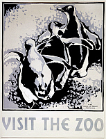 0266205 © Granger - Historical Picture ArchiveZOO POSTER, c1936.   'Visit the Zoo.' Woodcut by Louise Welsh, c1936.