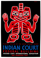 0324308 © Granger - Historical Picture ArchivePOSTER: ART EXHIBITION.   Poster for the Indian Court exhibit at the Golden Gate International Exposition in San Francisco, depicting a Haida blanket design. Silkscreen by Louis Siegriest, 1939.