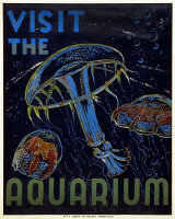 0527505 © Granger - Historical Picture ArchivePOSTER: AQUARIUM, c1935.   'Visit the Aquarium.' Poster promoting the Philadelphia Aquarium. Lithograph by by Hugh Stevenson, c1935.