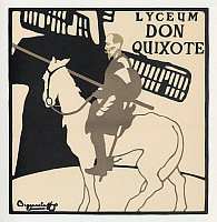 0268611 © Granger - Historical Picture ArchiveDON QUIXOTE, 1896.   Poster for a production of 'Don Quixote' at the Lyceum Theatre in London, England. Lithograph by The Beggarstaff Brothers, 1896.