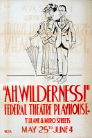0352822 © Granger - Historical Picture ArchiveAH WILDERNESS!, c1938.   Poster for a Federal Theatre Project production of 'Ah, Wilderness!' by Eugene O'Neill at the WPA Federal Theatre Playhouse in Los Angeles, California. Silkscreen, c1938.
