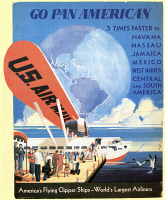 0046042 © Granger - Historical Picture ArchiveAIRLINE POSTER, 1933.   A Pan American Airways counter-top display from 1933 featuring an S-40 airplane.