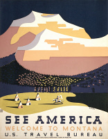 0173239 © Granger - Historical Picture ArchiveSEE AMERICA POSTER, c1937.   United States Travel Bureau poster promoting tourism in Montana. Poster by Richard Halls, c1937.