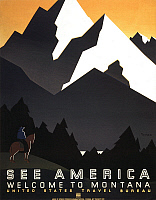 0173240 © Granger - Historical Picture ArchiveSEE AMERICA POSTER, c1937.   United States Travel Bureau poster promoting tourism in Montana, c1937.