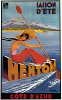 0526669 © Granger - Historical Picture ArchivePOSTER: CODE D'AZUR, 1935.   French poster advertising summer activities at Menton, Cote d'Azur. Lithograph, 1935.