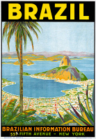 0528253 © Granger - Historical Picture ArchivePOSTER: BRAZIL, c1945.   Poster advertising travel to Brazil, by the Brazil Information Bureau in New York City. Lithograph by Waldomiro Goncalves Christino, c1945.