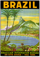 0528254 © Granger - Historical Picture ArchivePOSTER: BRAZIL, c1945.   Poster advertising travel to Brazil, by the Brazil Information Bureau in New York City. Lithograph by Waldomiro Goncalves Christino, c1945.