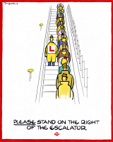 0528556 © Granger - Historical Picture ArchiveLONDON: UNDERGROUND, 1944.   'Please stand on the right of the escalator.' Poster by Fougasse promoting proper etiquette on the London Underground, 1944.