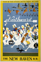 0623019 © Granger - Historical Picture ArchiveNEW HAVEN RAILROAD, c1930.   Travel poster issued by the New Haven Railroad, featuring flocks of geese and crowds of travelers headed north towards New England and Canada. Lithograph poster by John Held, c1930.