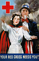 0009832 © Granger - Historical Picture ArchiveWORLD WAR II: RED CROSS.   'Your Red Cross Needs You.' American World War II poster by James Montgomery Flagg, 1942.