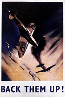 0021175 © Granger - Historical Picture ArchiveWORLD WAR II: POSTER, 1940.   'Back them up!' British World War II poster depicting the Battle of Britain, 1940.