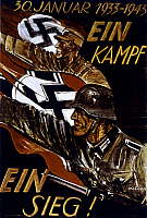 0023526 © Granger - Historical Picture ArchiveWWII: GERMAN POSTER.   One Fight, Once Victory! German World War II poster on Hitler's 10th anniversary as Chancellor.
