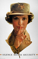 0036022 © Granger - Historical Picture ArchiveWWII: CARELESS TALK POSTER.   'Silence Means Security.' American World War II poster featuring a WAAC (member of the Women's Auxiliary Army Corps) warning of the danger of careless talk.