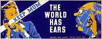 0124659 © Granger - Historical Picture ArchiveWORLD WAR II POSTER, c1942.   'Keep Mum - The World Has Ears.' American World War II poster for the Thirteenth Naval District of the U.S. Navy, c1942, warning against the dangers of careless talk. Silkscreen by Edward T. Grigware for the Works Progress Administration's Federal Art Project.