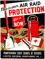 0124664 © Granger - Historical Picture ArchiveWORLD WAR II POSTER, c1943.   American World War II poster for the Pennsylvania State Council of Defense, c1943, encouraging civilians to be properly prepared for air raids. Silkscreen by Zebedee Johnson for the Works Progress Administration's Federal Art Project.