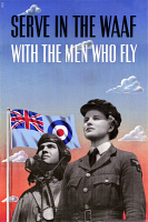 0528250 © Granger - Historical Picture ArchivePOSTER: AIR FORCE, c1943.   'Serve in the WAAF with the Men who fly!' British poster encouraging women to join the Women's Auxiliary Air Force. Lithograph by Johnathan Foss, c1943.
