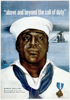 0528578 © Granger - Historical Picture ArchiveWWII: POSTER, c1943.   'Above and beyond the call of duty.' Poster honoring Dorie Miller, the first African American man to be awarded the Navy Cross for his heroism at Pearl Harbor. Lithograph with an illustration by David Stone Martin, c1943.