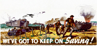 0528579 © Granger - Historical Picture ArchiveWWII: POSTER, c1943.   'We've got to keep on saving!' Lithograph published by the National Savings Committee, c1943.