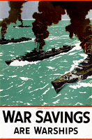 0528589 © Granger - Historical Picture ArchiveWWII: POSTER, c1943.   'War savings are warships!' Lithograph with an illustration by Norman Wilkinson, c1943.