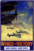 0528592 © Granger - Historical Picture ArchiveWWII: POSTER, c1943.   'Wings for victory - more savings - more wings.' Lithograph with an illustration by Frank Wootton, c1943.