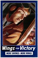 0528593 © Granger - Historical Picture ArchiveWWII: POSTER, c1943.   'Wings for victory - more savings - more wings.' Lithograph with an illustration by Edward Osmond, c1943.