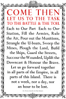 0528845 © Granger - Historical Picture ArchiveWWII: POSTER, c1940.   'Come then let us to the task...' Poster illustrated with the text of a speech given by Winston Churchill in January 1940. Lithograph, c1940.