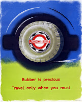 0528991 © Granger - Historical Picture ArchiveWWII: POSTER, c1943.   'Rubber is precious - travel only when you must.' Lithograph, c1943.