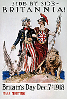 0007046 © Granger - Historical Picture ArchiveWORLD WAR I: U.S. POSTER.   'Side by Side, Britannia!' American World War I poster by James Montgomery Flagg, 1918.