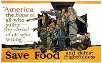0007281 © Granger - Historical Picture ArchiveWORLD WAR I: U.S. POSTER.   'Save Food and Defeat Frightfulness.' U.S. Food Administration World War I poster, 1918.