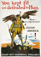 0007853 © Granger - Historical Picture ArchiveWORLD WAR I: VD POSTER.   'You Kept Fit and Defeated the Hun.' American World War I anti-venereal disease poster, c1919, by Ernest Fuhr.