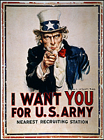0008427 © Granger - Historical Picture ArchiveWORLD WAR I: UNCLE SAM.   James Montgomery Flagg's  famous 'I Want You' U.S. Army recruiting poster of 1918, used again in every subsequent American war.
