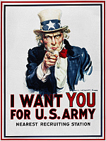 0008428 © Granger - Historical Picture ArchiveWORLD WAR I: UNCLE SAM.   James Montgomery Flagg's  famous 'I Want You' U.S. Army recruiting poster of 1916, used again in every subsequent American war.