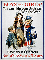 0009896 © Granger - Historical Picture ArchiveWORLD WAR I: U.S. POSTER.   'Boys and Girls! You Can Help Your Uncle Sam Win the War.' American World War I War Savings Stamp poster by James Montgomery Flagg.