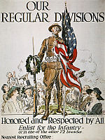 0010939 © Granger - Historical Picture ArchiveWORLD WAR I: U.S. ARMY.   'Our Regular Divisions.' American World War I army recruiting poster, 1918, by James Montgomery Flagg.