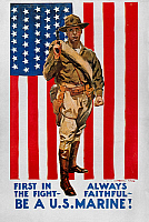 0011364 © Granger - Historical Picture ArchiveWORLD WAR I: U.S. MARINES.   'First in the Fight.' American World War I Marine corps recruiting poster, c1918, by James Montgomery Flagg.